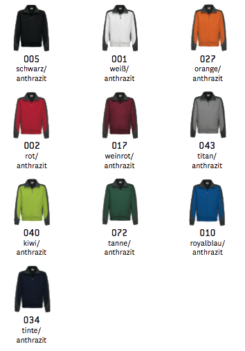Sweat Jacke Farben